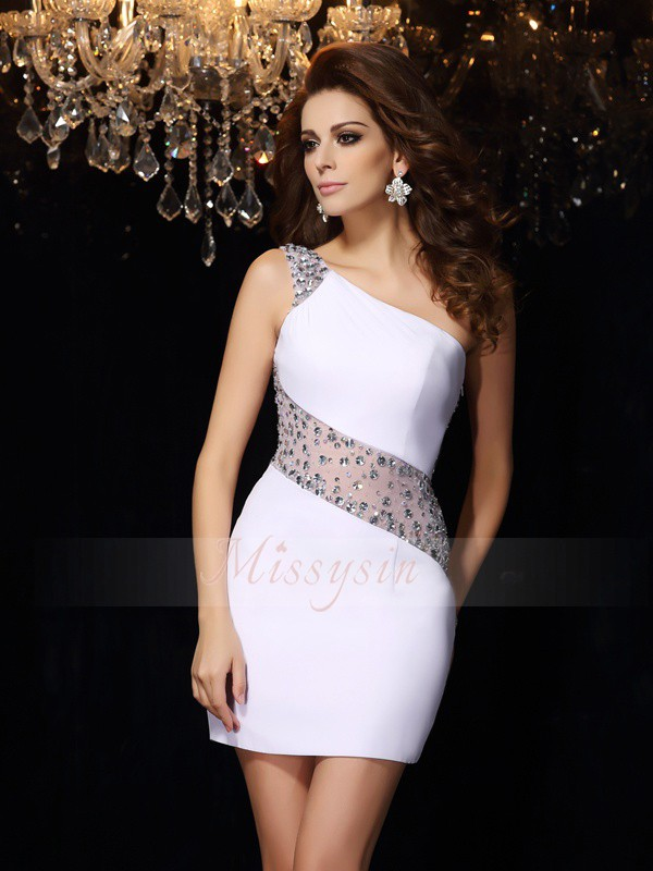 Sheath/Column Sleeveless One-Shoulder Beading Short/Mini Chiffon Dresses