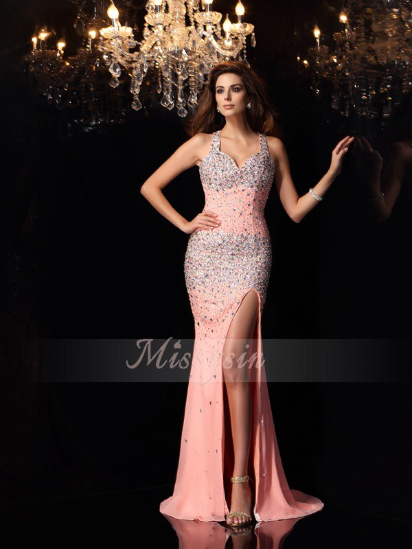 Trumpet/Mermaid Sleeveless Straps Beading Sweep/Brush Train Chiffon Dresses