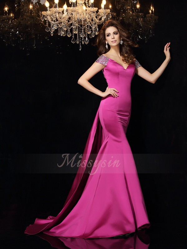 Trumpet/Mermaid Sleeveless Satin Off-the-Shoulder Beading Court Train Dresses