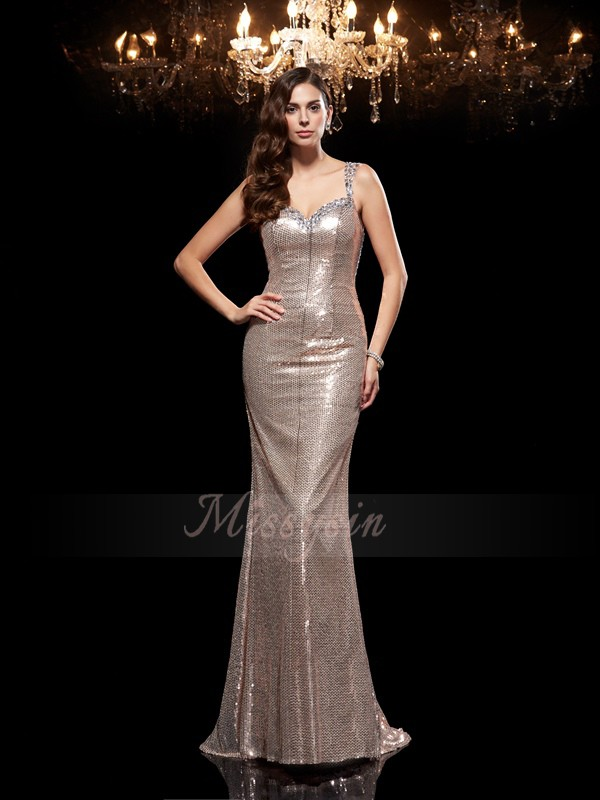 Sheath/Column Sleeveless Straps Beading Sweep/Brush Train Sequins Dresses