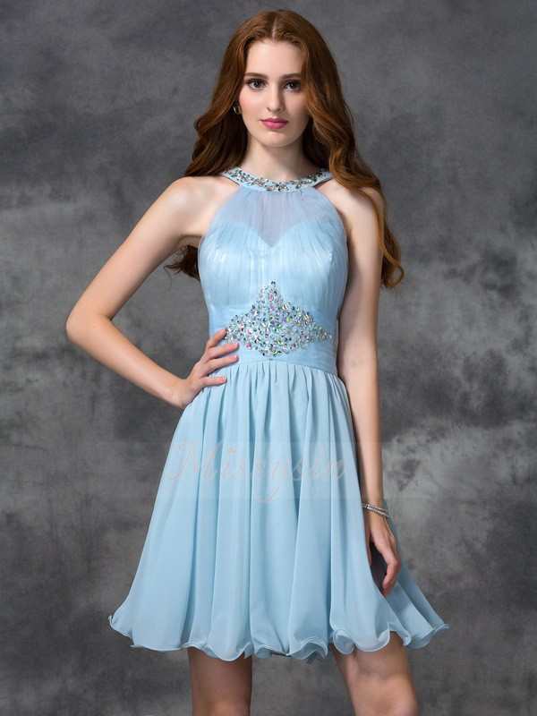 A-line/Princess Sleeveless Scoop Beading Short/Mini Chiffon Cocktail Dresses