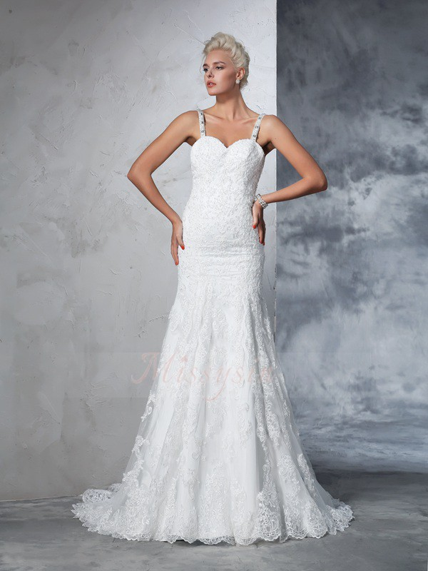 Trumpet/Mermaid Sleeveless Spaghetti Straps Chapel Train Lace Wedding Dresses