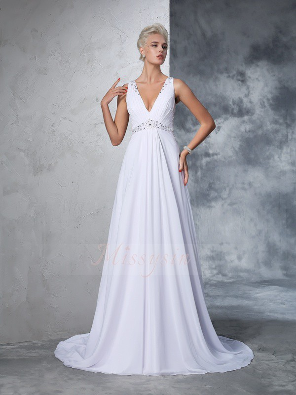 A-Line/Princess Sleeveless V-neck Beading Cathedral Train Chiffon Wedding Dresses
