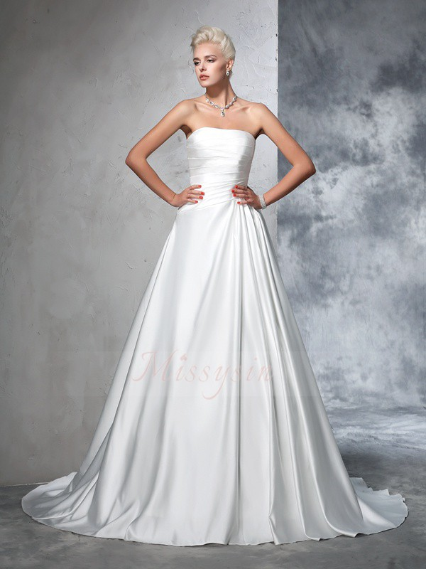 Ball Gown Sleeveless Strapless Ruched Chapel Train Satin Wedding Dresses