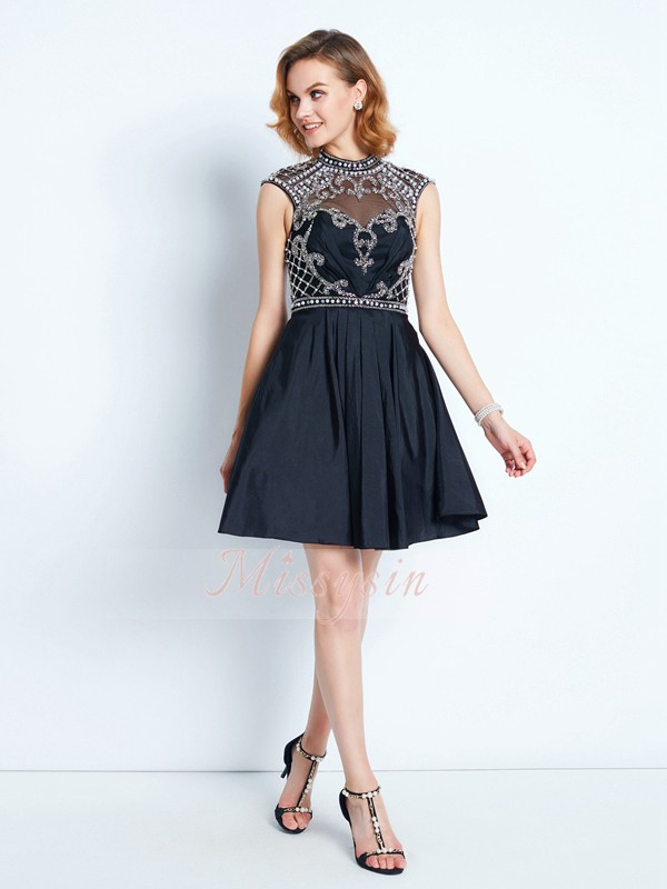 A-Line/Princess High Neck Short/Mini Beading Sleeveless Satin Dresses