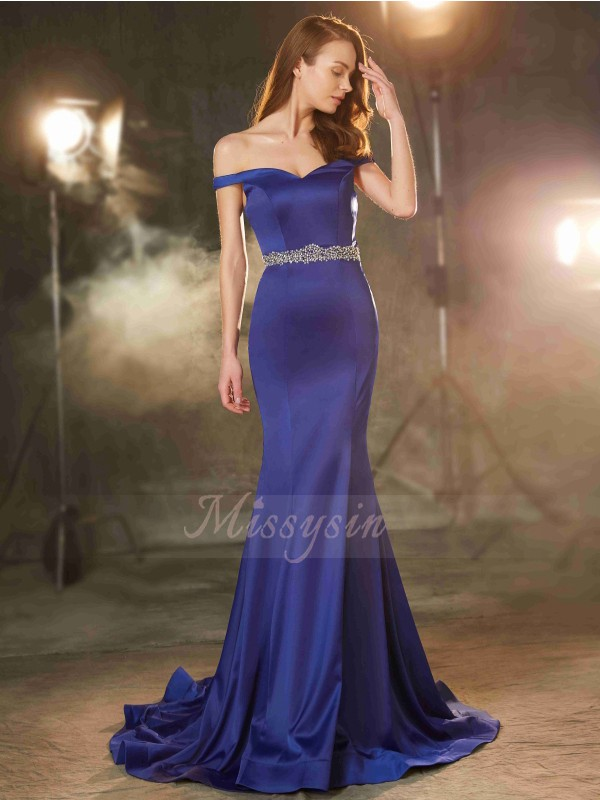 Trumpet/Mermaid Sweep/Brush Train Off-the-Shoulder Crystal Sleeveless Satin Dresses