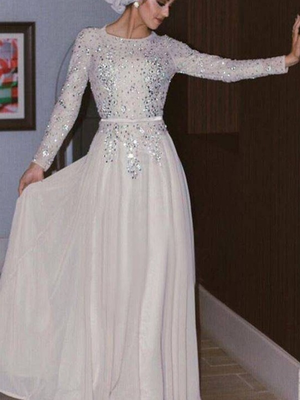 A-Line/Princess Floor-Length Scoop Crystal Long Sleeves Chiffon Muslim Dresses