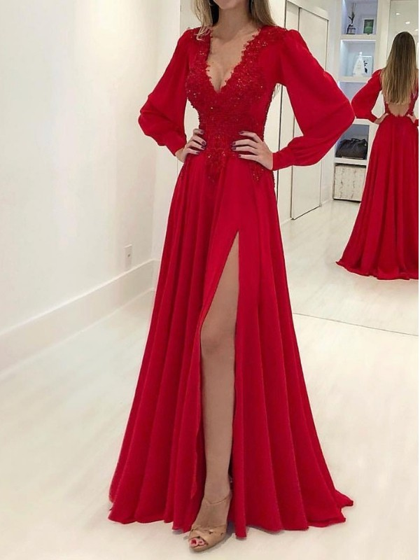 A-Line/Princess Sweep/Brush Train V-neck Applique Long Sleeves Chiffon Dresses