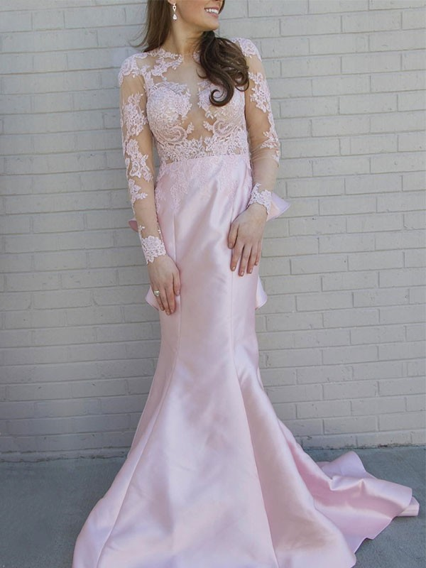 Trumpet/Mermaid Scoop Long Sleeves Applique Satin Sweep/Brush Train Dresses