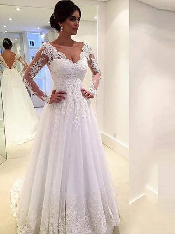 Ball Gown Long Sleeves Lace V-neck Sweep/Brush Train Tulle Wedding Dresses
