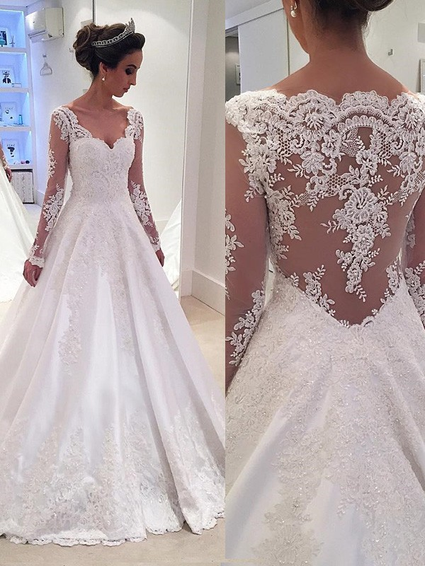 Ball Gown Long Sleeves Lace V-neck Court Train Satin Wedding Dresses