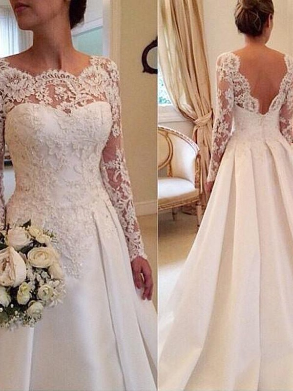 Ball Gown Long Sleeves Lace Scoop Court Train Satin Wedding Dresses