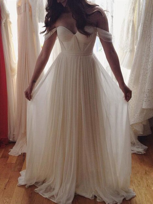 A-Line/Princess Sleeveless Chiffon Off-the-Shoulder Beading Floor-Length Dresses