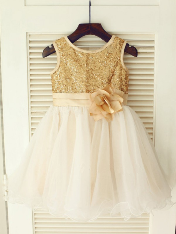 A-Line/Princess Scoop Knee-Length Sequin Sleeveless Organza Flower Girl Dresses