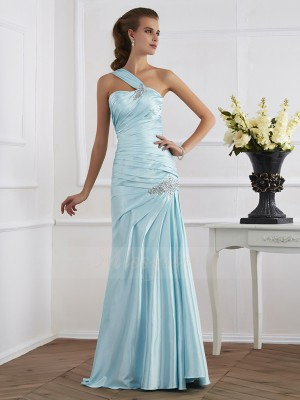 Trumpet/Mermaid Sleeveless Floor-Length Elastic Woven Satin One-Shoulder Ruched Dresses