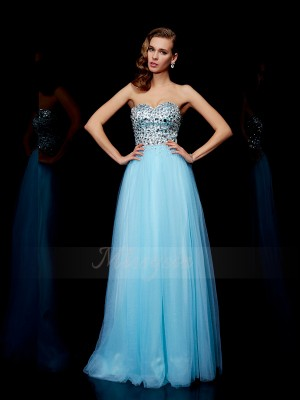 Ball Gown Sleeveless Floor-Length Tulle Sweetheart Beading Dresses