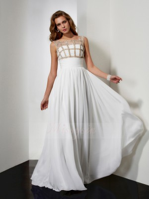 A-Line/Princess Sleeveless Floor-Length Chiffon Straps Beading Dresses
