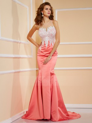Sheath/Column Sleeveless Sweep/Brush Train Satin Jewel Beading Dresses