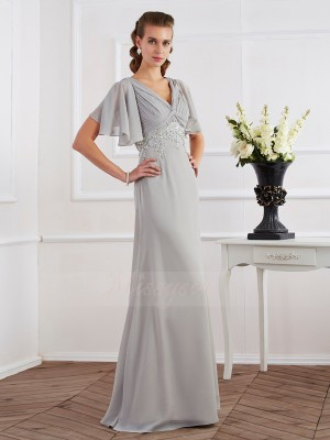 Sheath/Column Short Sleeves Floor-Length Chiffon V-neck Beading Dresses