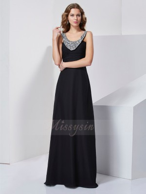 A-Line/Princess Sleeveless Floor-Length Chiffon Scoop Beading Dresses