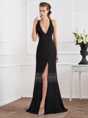 A-Line/Princess Sleeveless Sweep/Brush Train Chiffon Halter Dresses