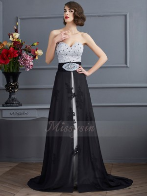 A-Line/Princess Sleeveless Sweep/Brush Train Chiffon,Net,Satin Sweetheart Beading Dresses