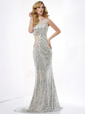 Trumpet/Mermaid Sleeveless Sweep/Brush Train Lace,Sequins One-Shoulder ,Paillette Dresses