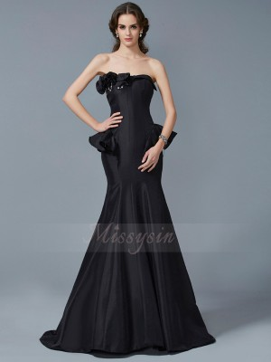 Trumpet/Mermaid Sleeveless Sweep/Brush Train Taffeta Strapless Ruffles Dresses