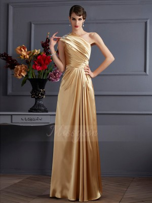A-Line/Princess Sleeveless Floor-Length Elastic Woven Satin One-Shoulder Beading Dresses