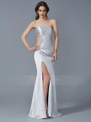 Trumpet/Mermaid Sleeveless Sweep/Brush Train Elastic Woven Satin Strapless Beading Dresses