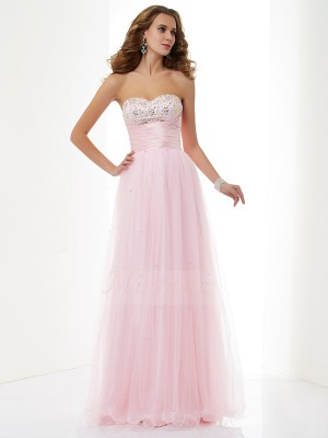 A-Line/Princess Sleeveless Floor-Length Elastic Woven Satin,Net Sweetheart Beading Dresses