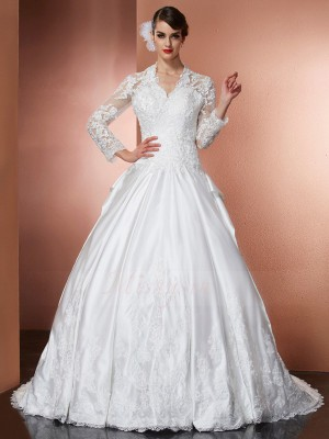 A-Line/Princess Long Sleeves Cathedral Train Satin V-neck Applique Wedding Dresses