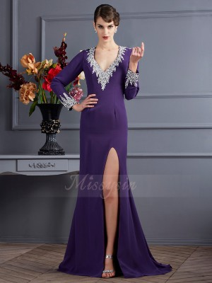 Trumpet/Mermaid Long Sleeves Sweep/Brush Train Chiffon V-neck Beading Dresses
