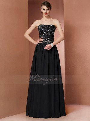 A-Line/Princess Sleeveless Floor-Length Chiffon Strapless Beading Dresses