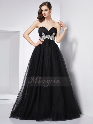 Ball Gown Sleeveless Floor-Length Net Sweetheart Applique Dresses