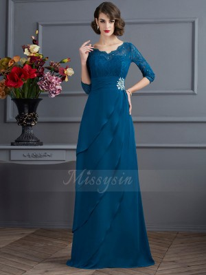 A-Line/Princess 3/4 Sleeves Floor-Length Chiffon V-neck Dresses