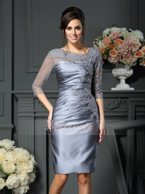 Sheath/Column 1/2 Sleeves Scoop Beading Knee-Length Satin Mother Of The Bride Dresses