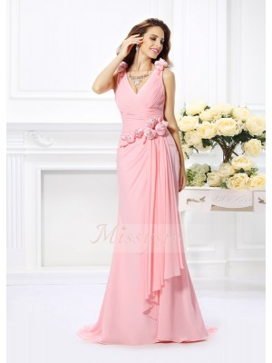 Trumpet/Mermaid Sleeveless V-neck Hand-Made Flower Sweep/Brush Train Chiffon Bridesmaid Dresses