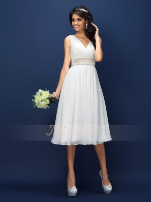 A-Line/Princess Sleeveless V-neck Pleats,Sash/Ribbon/Belt Knee-Length Chiffon Bridesmaid Dresses