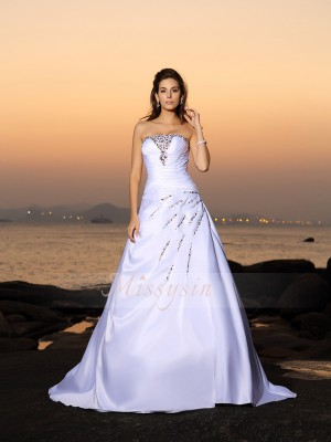 A-Line/Princess Sleeveless Strapless Beading Chapel Train Satin Wedding Dresses
