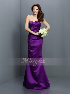 Trumpet/Mermaid Sleeveless Strapless Pleats Floor-Length Satin Bridesmaid Dresses