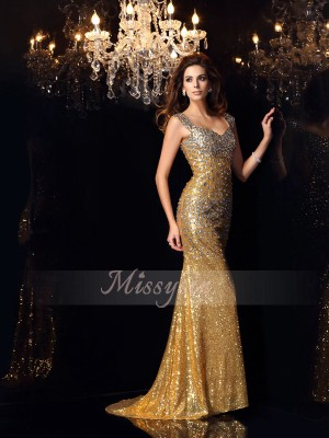 Trumpet/Mermaid Sleeveless Straps Rhinestone Floor-Length Sequins Dresses