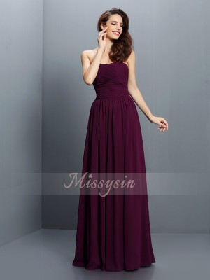 A-Line/Princess Sleeveless Strapless Pleats Floor-Length Chiffon Bridesmaid Dresses