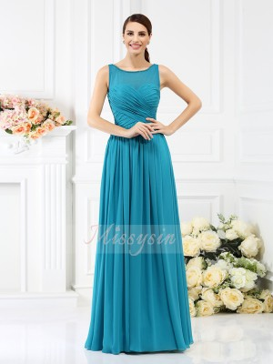 A-Line/Princess Sleeveless Bateau Pleats Floor-Length Chiffon Bridesmaid Dresses