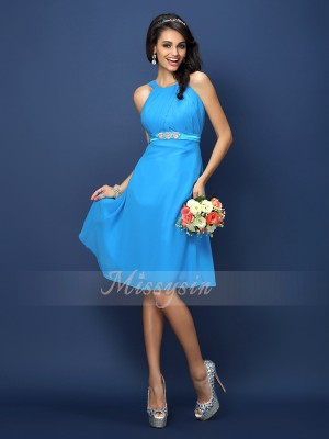 A-Line/Princess Sleeveless Bateau Sash/Ribbon/Belt Knee-Length Chiffon Bridesmaid Dresses