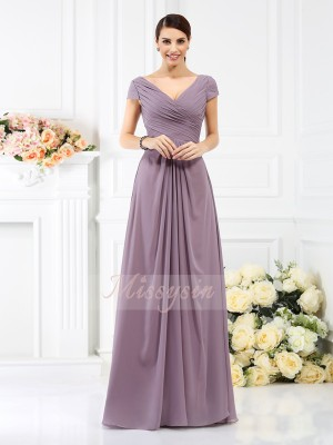 A-Line/Princess Short Sleeves V-neck Pleats Floor-Length Chiffon Bridesmaid Dresses