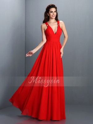 A-Line/Princess Sleeveless V-neck Pleats Floor-Length Chiffon Dresses