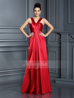 A-Line/Princess Sleeveless Straps Floor-Length Elastic Woven Satin Bridesmaid Dresses