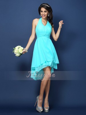 A-Line/Princess Sleeveless Halter Pleats Short/Mini Chiffon Bridesmaid Dresses