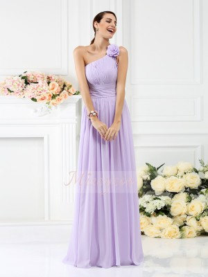 A-Line/Princess Sleeveless One-Shoulder Pleats,Hand-Made Flower Floor-Length Chiffon Bridesmaid Dresses